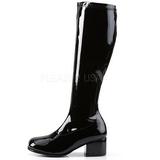 svart lakk 5 cm RETRO-300 dame støvletter med høye hæler