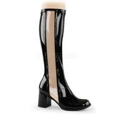 svart lakk 7,5 cm Funtasma GOGO-303 høye støvler dame