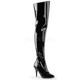 svart lakkert 10,5 cm VANITY-3010 lårhøye støvler til menn
