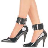 svart lakkert 10,5 cm VANITY-434 dame pumps sko flate hæl