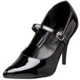 svart lakkert 10,5 cm VANITY-440 dame pumps med lave hæl