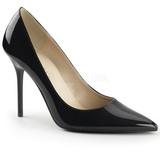 svart lakkert 10 cm CLASSIQUE-20 spisse pumps med stiletthæler
