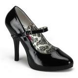 svart lakkert 12 cm TEMPT-35 dame pumps sko flate hæl