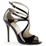 svart lakkert 13 cm AMUSE-15 høye fest sandaler med hæl