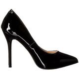 svart lakkert 13 cm AMUSE-20 spisse pumps med stiletthæler