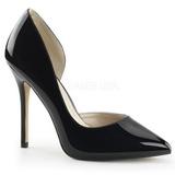svart lakkert 13 cm AMUSE-22 klassiske pumps sko til dame