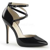 svart lakkert 13 cm AMUSE-25 høye pumps fest sko med hæl
