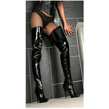 svart lakkert 13 cm SEDUCE-4010 lårhøye støvler til menn