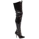 svart lakkert 13 cm SEDUCE-4026 lårhøye støvler til menn