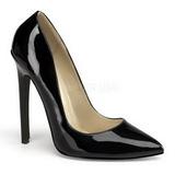 svart lakkert 13 cm SEXY-20 dame pumps sko flate hæl
