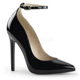 svart lakkert 13 cm SEXY-23 klassiske pumps sko til dame