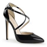 svart lakkert 13 cm SEXY-26 klassiske pumps sko til dame