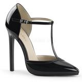 svart lakkert 13 cm SEXY-27 dame pumps sko stiletthæl