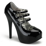 svart lakkert 14,5 cm Burlesque TEEZE-05 høye damesko med høy hæl