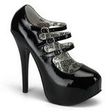 svart lakkert 14,5 cm TEEZE-05 høye damesko med høy hæl