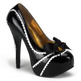 svart lakkert 14,5 cm TEEZE-14 høye damesko med høy hæl
