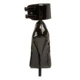 svart lakkert 15,5 cm DOMINA-434 pumps dame sko flate hæl