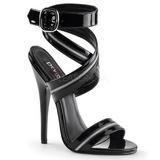svart lakkert 15 cm DOMINA-119 high heels sandaletter sko