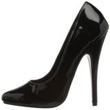 svart lakkert 15 cm DOMINA-420 spisse pumps med stiletthæler