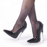 svart lakkert 15 cm SCREAM-01 dame pumps sko stiletthæler