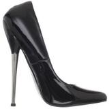 svart lakkert 16 cm DAGGER-01 dame pumps sko stiletthæler