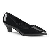 svart lakkert 5 cm FAB-420W dame pumps sko flate hæl