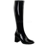 svart lakkert 8,5 cm GOGO-300 høye damestøvler til menn