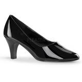 svart lakkert 8 cm DIVINE-420W dame pumps med lave hæl