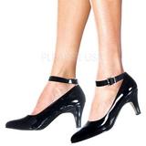 svart lakkert 8 cm DIVINE-431W dame pumps sko flate hæl