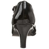 svart lakkert 8 cm DIVINE-440 dame pumps med lave hæl