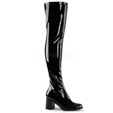 svart lakkert 8 cm GOGO-3000 lårhøye støvler til menn