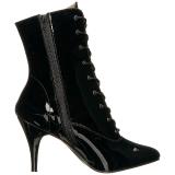 svart lakklær 10 cm DREAM-1020 store størrelser ankelstøvletter dame