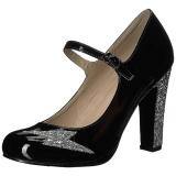 svart lakklær 10 cm QUEEN-02 store størrelser pumps sko
