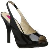 svart lakklær 12,5 cm EVE-04 store størrelser sandaler dame