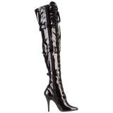 svart lakklær 12,5 cm SEDUCE-3028 sexy overknee støvler