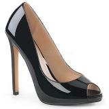 svart lakklær 13 cm SEXY-42 klassiske pumps sko til dame