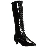 svart lakklær 5 cm FAB-2023 store størrelser støvler dame