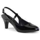 svart lakklær 7,5 cm DIVINE-418 store størrelser pumps sko