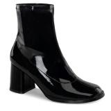 svart lakklær 7,5 cm GOGO-150 stretch støvletter med blokkhæl for kvinner