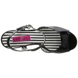 svart lakklær 7,5 cm JENNA-09 store størrelser sandaler dame