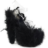 svart marabou fjær 18 cm ADORE-708F pole dancing sko