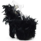 svart marabou fjær 20 cm FLAMINGO-808F pole dancing sko