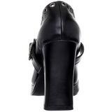 svart matt 10,5 cm CRYPTO-05 gothic pumps sko dame platå