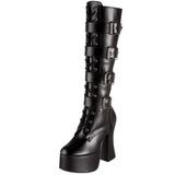 svart matt 12 cm SLUSH-225 høye dame støvler med snøring
