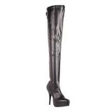 svart matt 13,5 cm INDULGE-3063 lårhøye støvler til menn