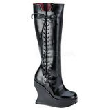 svart matt 13 cm BRAVO-100 gothic støvler dame platå