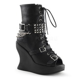 svart matt 13 cm BRAVO-89 gothic ankelstøvler dame