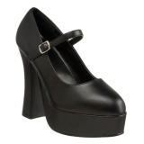 svart matt 13 cm DOLLY-50 Mary Jane platå pumps høy hæl
