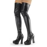 svart matt 13 cm ELECTRA-3000Z lårhøye støvler til menn