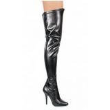 svart matt 13 cm SEDUCE-3000 lårhøye støvler til menn